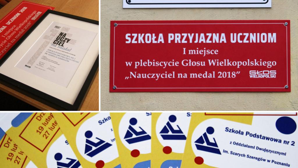 Tytuł Szkoły Przyjaznej Uczniom Plebiscytu Nauczyciel na medal 2018