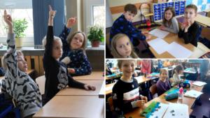 Uczniowie klas 1-3 podczas lekcji w szkole.