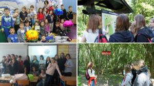 Uczniowie podczas zajęć w szkole oraz w Rezerwacie Morasko.