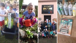 Uczniowie podczas zajęć w szkolnym ogrodzie, na wycieczce w Blubrach oraz Widokówce w Poznaniu.