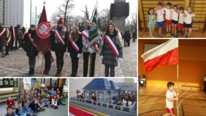 Uczniowie ze szkolnym sztandarem, podczas zawodów sportowych i na wystawie LEGO z okazji rocznicy Powstania Wielkopolskiego.