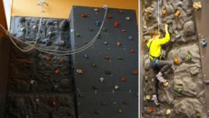 Ścianka wspinaczkowa. Na jednym ze zdjęć widać chłopca w żółtej bluzce wspinającego się po ściance. Jest zapięty w uprząż.