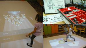 Dywan interaktywny w świetlicy oraz klocki LEGO z dodatkowych zajęć z robotyki.