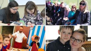 Rodzice i uczniowie podczas warsztatów plastycznych, wycieczek klasowych oraz szkolnych uroczystości.